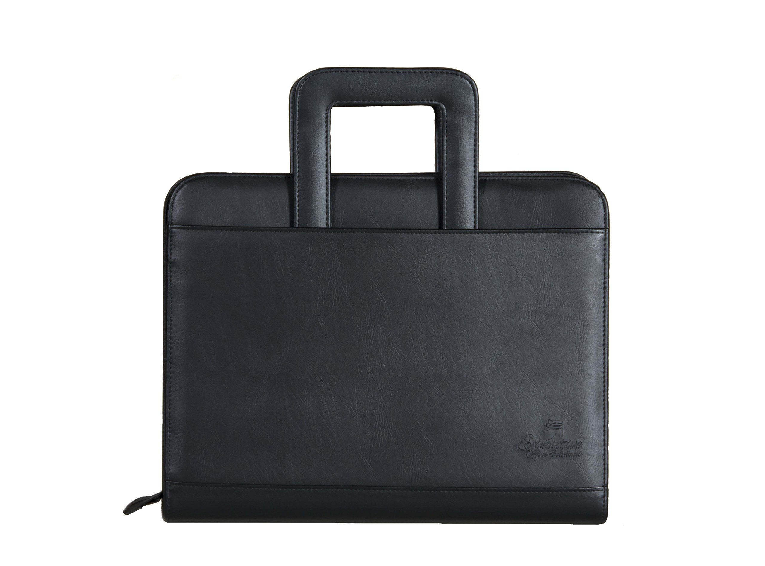 Professional Business Padfolio Portfolio Briefcase Style Organizer Folder With Handles Notepad and 3 Ring Binder - Black Synthetic Leather…