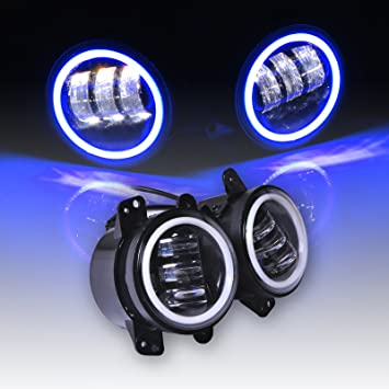 Omotor Jeep Wrangler 60W 4 Inch Round Cree Led Fog Light Blue Halo Ring  Angel Eyes