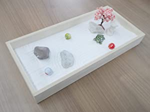 Japanese Zen Garden Kit for Desk with White Sand Bamboo Rocks Rakes Tree Pebbles, Office Tabletop Decor Accessories, Meditation Gifts