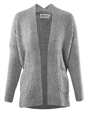 22a77d8e2baf MAYSIX APPAREL Women Stylish Cotton Cable Knit Open Sweater Long Sleeve  Chunky Cardigan W Pocket