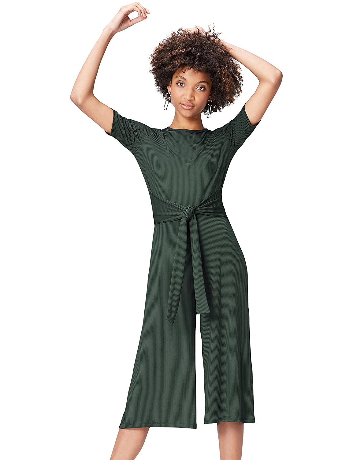 Marca Amazon - find. Rib Cropped Jumpsuit_18AMA040 - Jumpsuit Mujer