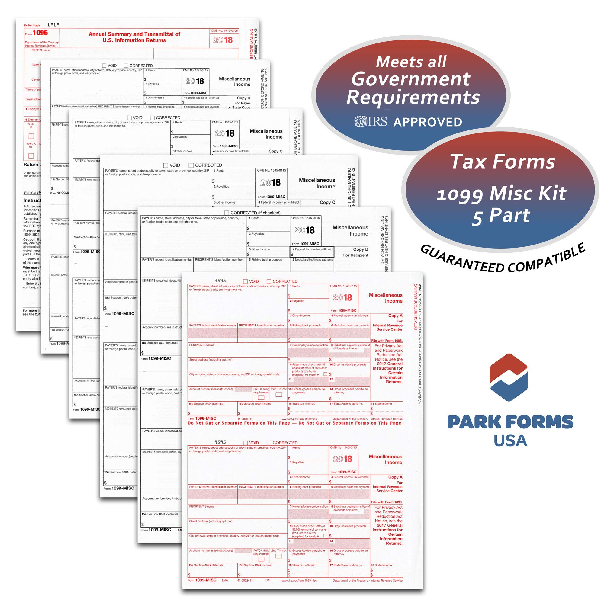 2018  Laser Tax Forms - 1099-MISC (5-Part Set) Income for 25 Vendors - Park Forms by Park Forms USA