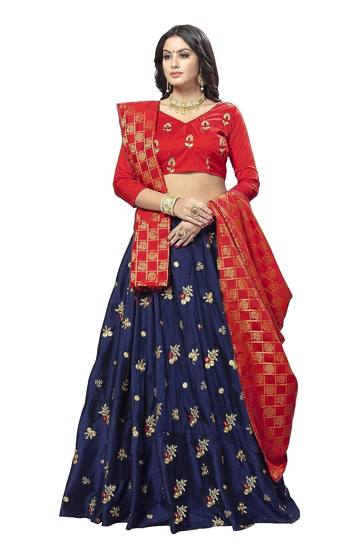 dd32335f696b0 Friends Fashion Women's Embroidered Heavy Art Silk Semi stitched Lehenga  Choli with Dupatta (Navy blue; Free size): Amazon.in: Clothing & Accessories