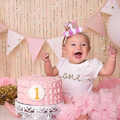 One First Birthday Glitter Pink and Gold 1st Birthday Baby Bodysuit Golden Crown