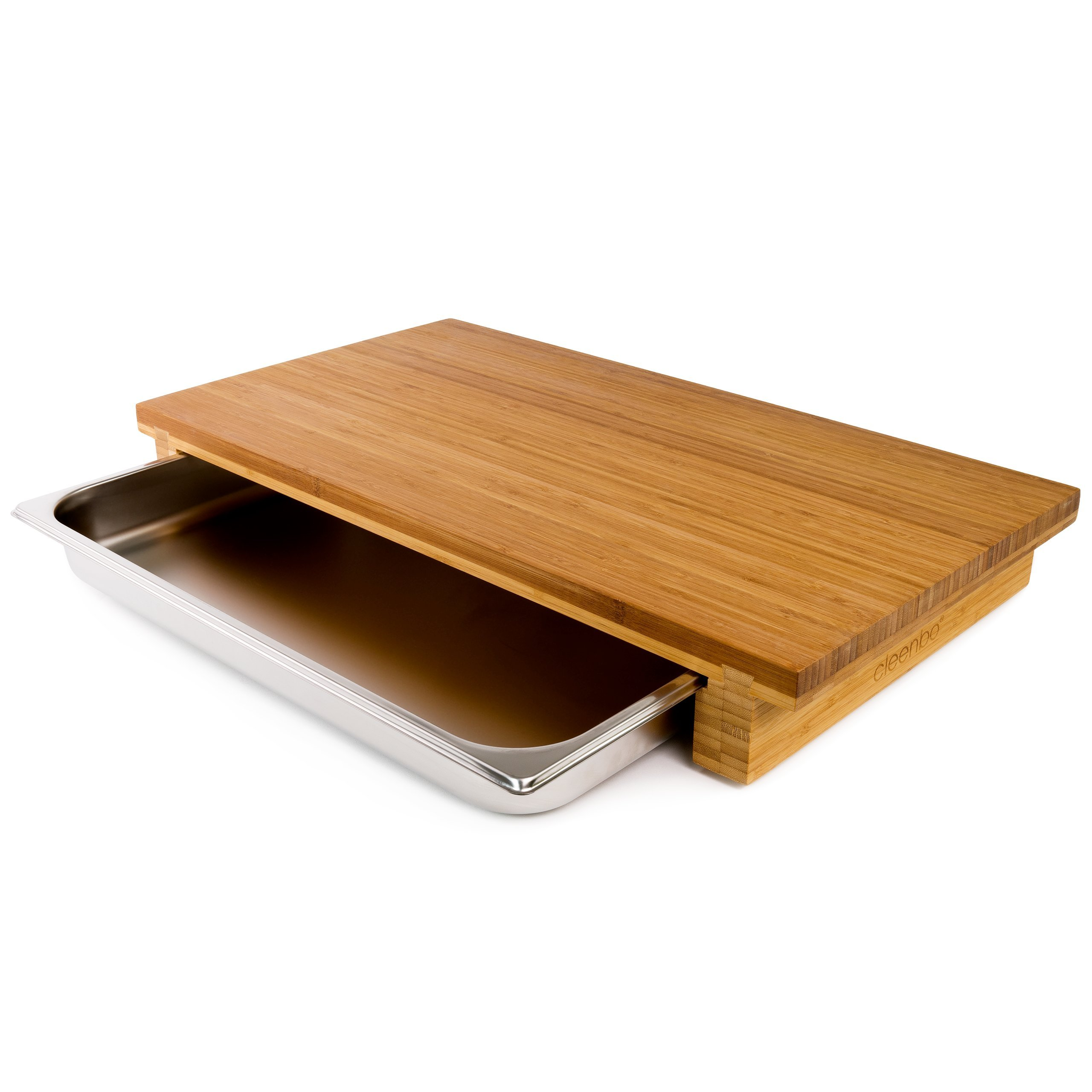 cleenbo Chopping board ''big bloc bamboo GN'', oiled bamboo countertop cutting board with stainless steel tray, Eco-Friendly, Board Dimensions: 25,6 x 14,2 x 3,5 in