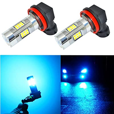 Alla Lighting 3200 Lumens Newest Version Ice Blue H11 LED Fog Lights Bulb High Power 3030 27-SMD Extremely Super Bright LED H11 Bulb for H16 H11 H8 LED Fog Light Bulbs, 8000K Ice Blue (Set of 2): Automotive