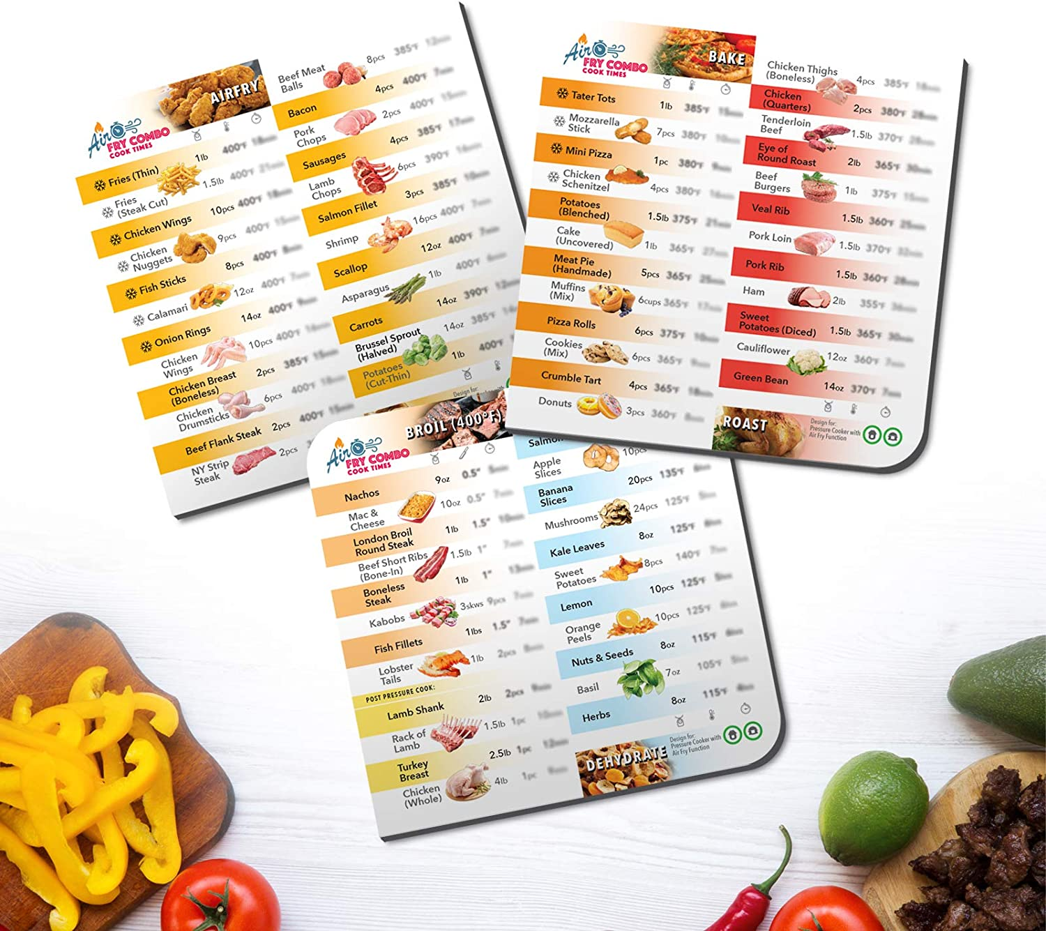 Everacc Air Fryer Magnetic Cheat Sheet for Instant Pot Duo Crisp Lid, 3-Pack Accessories, 5 Functional Cooking Time Charts as Quick Reference Guide on 72 Foods.