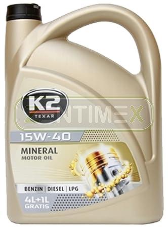 15 W40 antifricción aceite 5 litros Mineral Acea A3/B3/B4, API SL/CF: Amazon.es: Coche y moto
