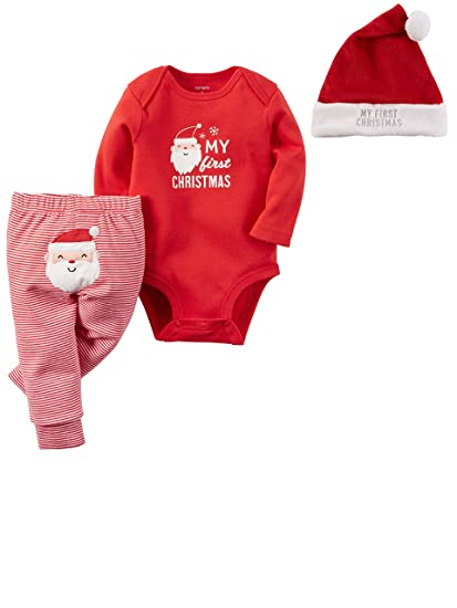 0cd5d47f4f6 Amazon.com  Carter s Baby My First Christmas 3 Piece Bodysuit Pant and Santa  Hat Set  Clothing