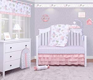 OptimaBaby 6 Piece Baby Nursery Crib Bedding Set, Tropical Forest Birds Flamingos, Rose Pink/White/Green/Gray