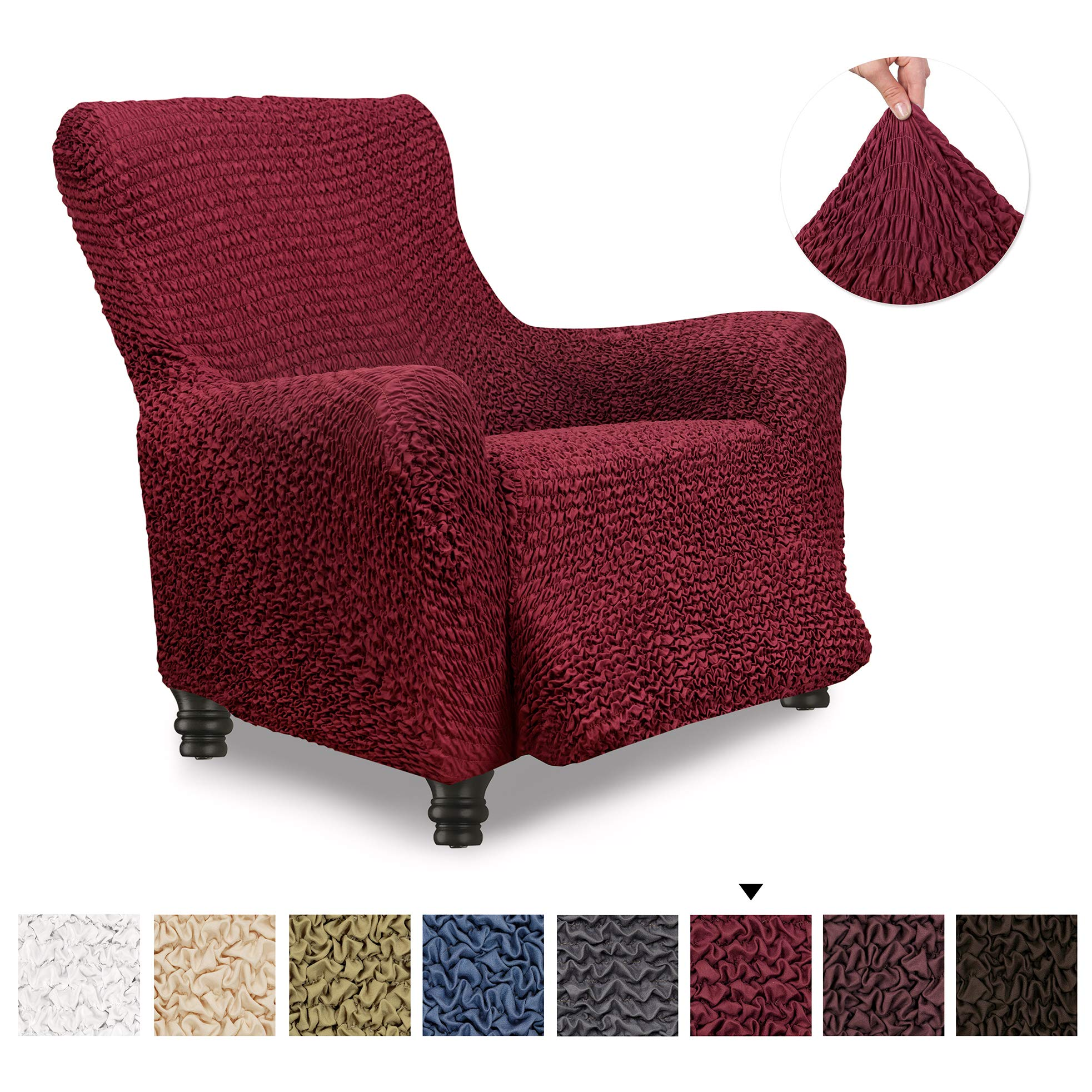 Recliner Cover - Recliner Chair Cover - Recliner Slipcover - Soft Polyester Fabric Slipcover - 1-piece Form Fit Stretch Stylish Furniture Protector - Microfibra Collection - Bordeaux (Recliner) by PAULATO BY GA.I.CO.