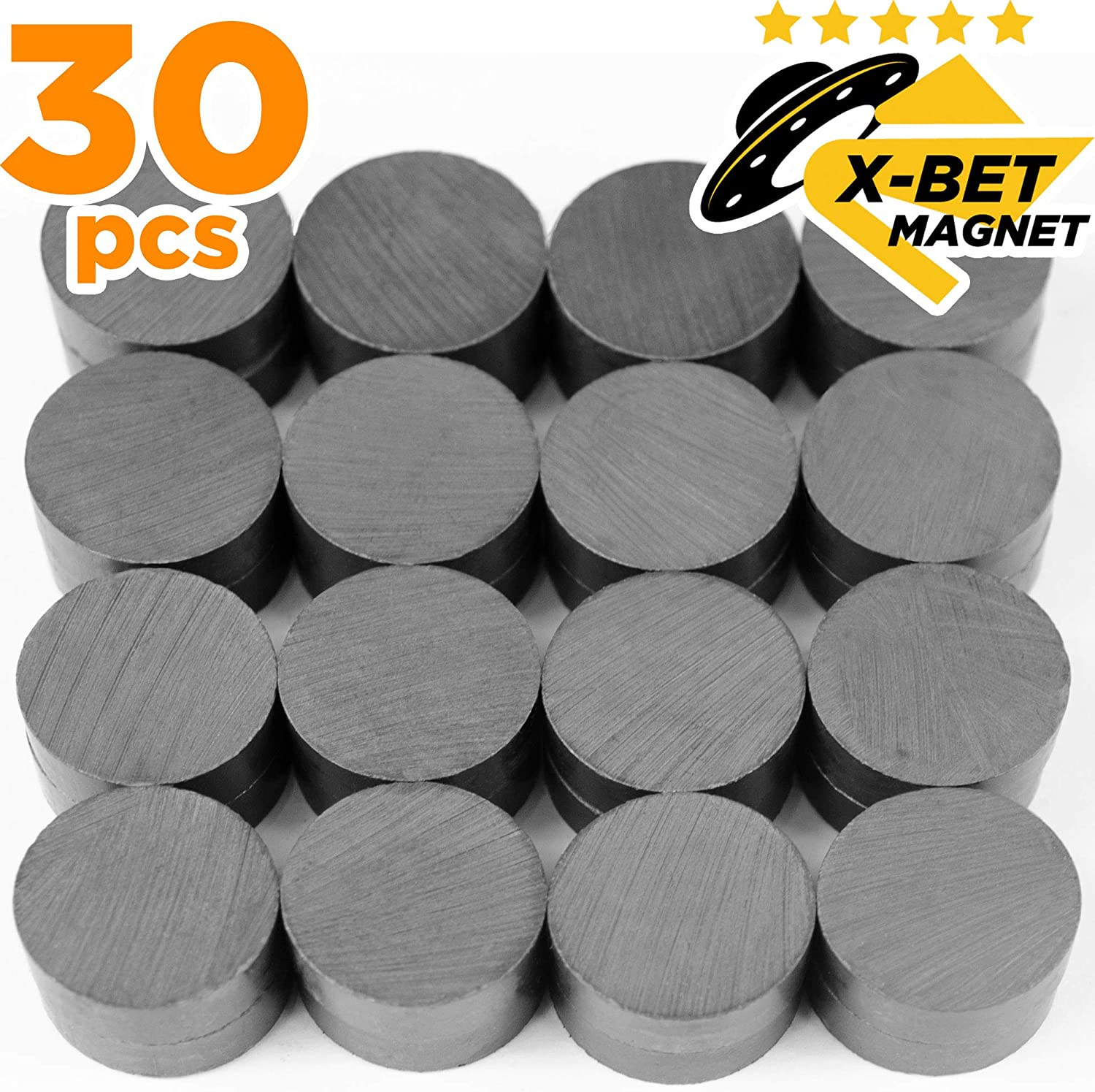 Craft Magnets - 18 mm (.709 inch) Round Disc Ceramic Magnets - Flat Circle Magnets for Crafts, Science & DIY - Ferrite Small Magnets Perfect for Refrigerator, Whiteboard, Fridge - 30 PCs
