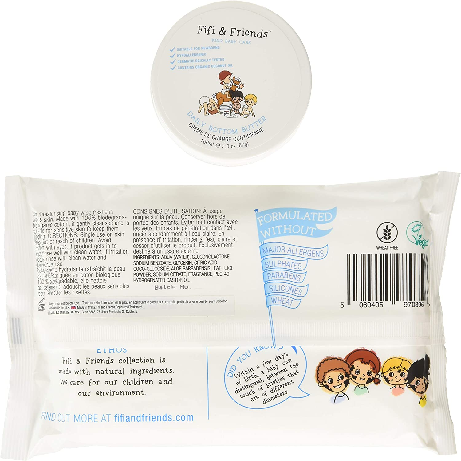 /& Pouch Set Fifi and Friends Daily Bottom Butter /& Travel Cleansing Wipes 32