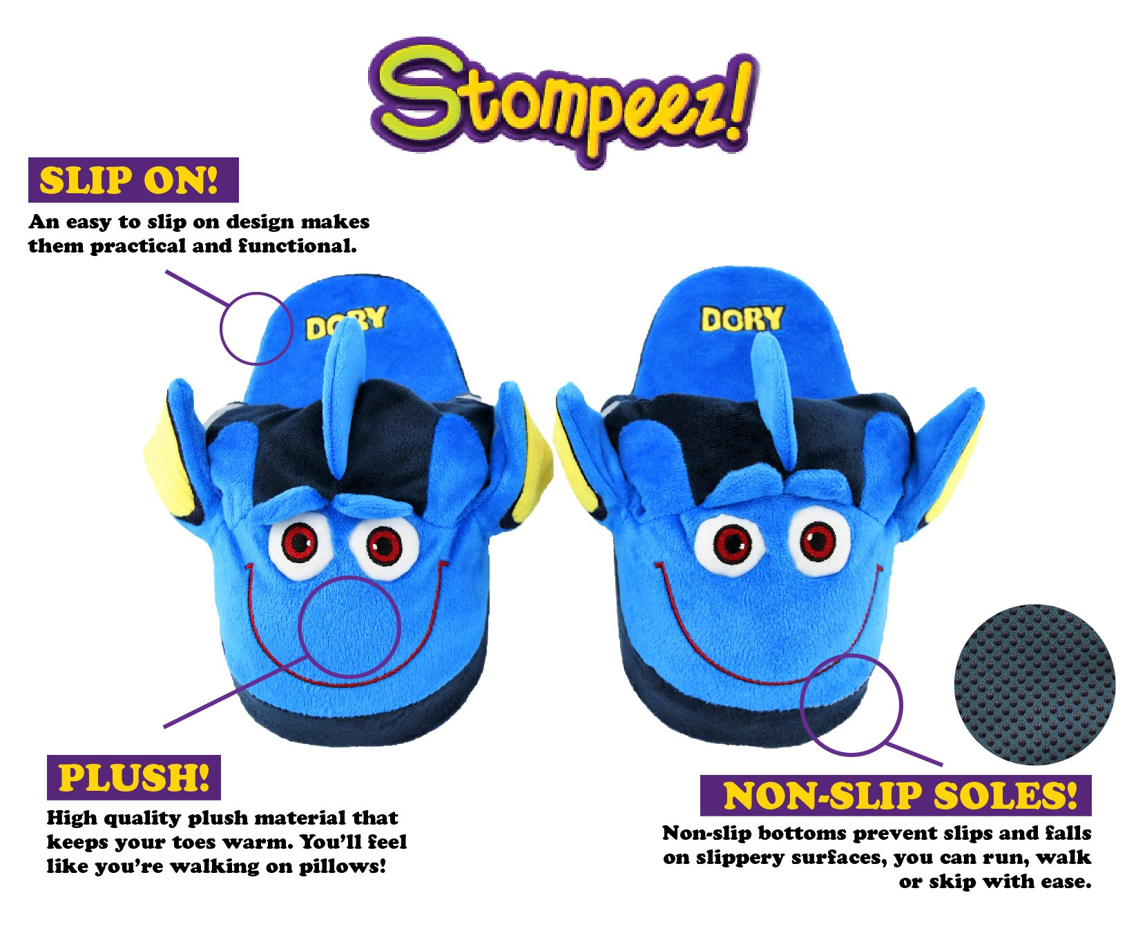 Stompeez Animated Dory Plush Slippers - Ultra Soft and Fuzzy - Fins Flap and Flutter as You Walk - Large by Stompeez (Image #3)