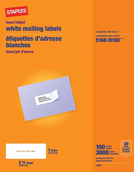 image relating to Printable Stickers Staples identified as Staples White Mailing Labels for Laser Printers, 1 x 2.62 Inch, 100 Sheets, 3000 Labels