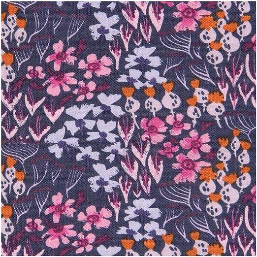 Tela de algodón gris violáceo oscuro con flores: Amazon.es: Amazon.es