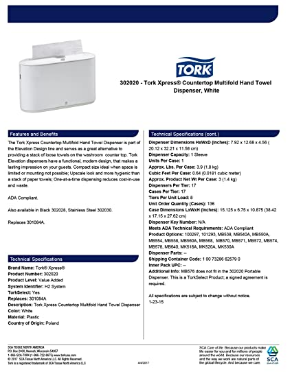 Amazon.com: Tork Xpress 302020 Countertop Multifold Hand Towel Dispenser, Plastic, 7.92