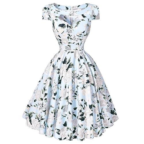Belle Poque Retro Women 50s Elegant Floral Prom Swing Midi Dresses GF01