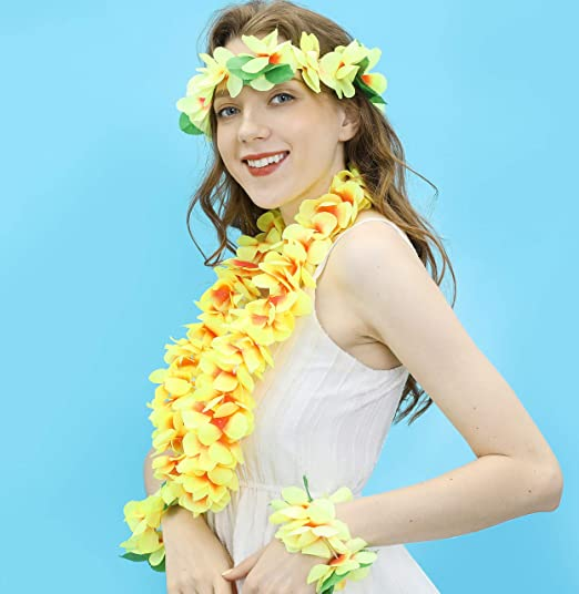 YELLOW HAWAIIAN LEI FLOWER NECKLACE FANCY DRESS HAWAII TROPICAL LUAU PARTY