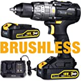 Brushless Drill Driver 60Nm, TECCPO Cordless Drill Driver 18V, 2 x 2.0Ah Rechargeable Battery with 30min Fast Charger, 21 + 3 Torques, 2-Speed Gear & LED Light - TDHD02P
