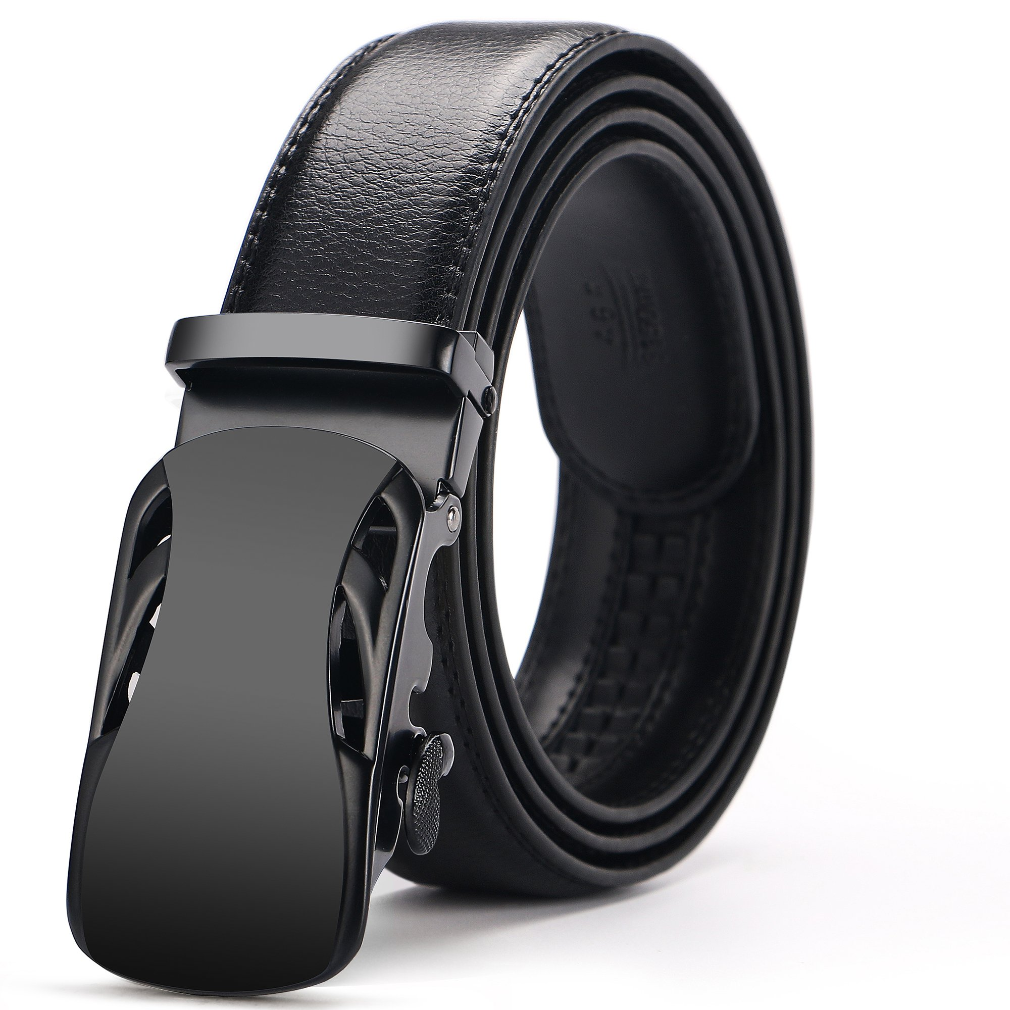 Iztor Men's Automatic Buckle Ratchet Leather Dress Belt 35mm Wide 1 3/8'' With Gift Box for from 20'' to 43'' Waist