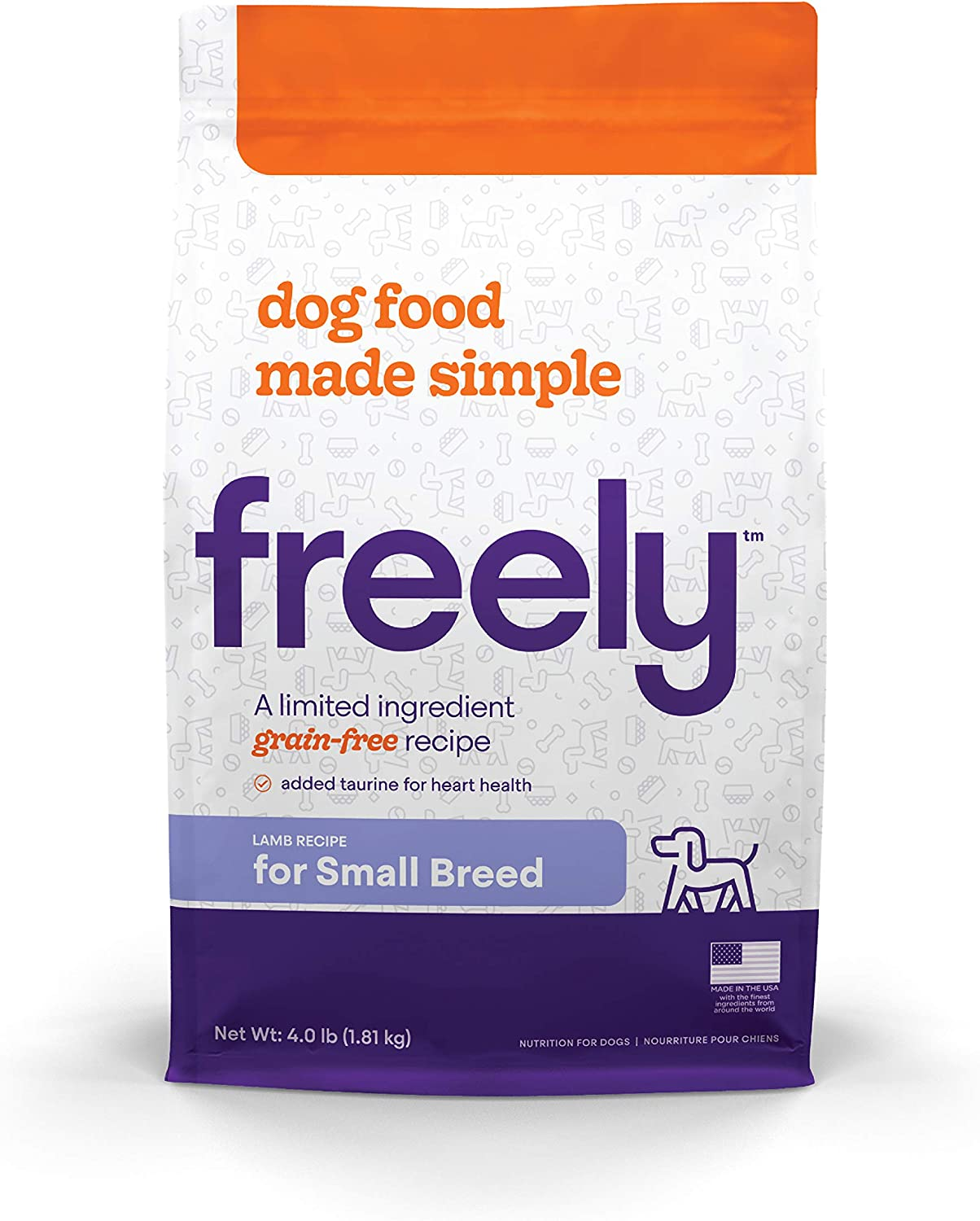 Freely Limited Ingredient Diet, Grain Free Dog Food, Natural Dry Dog Food for Small Breed Dogs, Lamb Kibble, 4lb bag