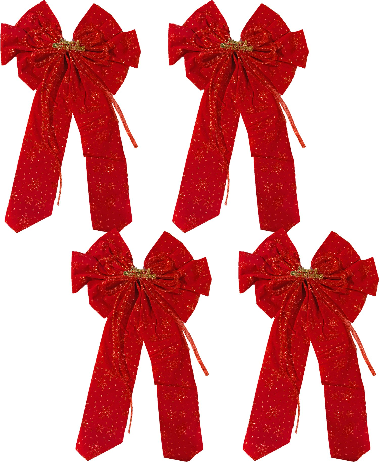 25'' x 9'' Red Velvet Bow ''Merry Christmas'' With Glitter Snowflake Print (4 Bows)