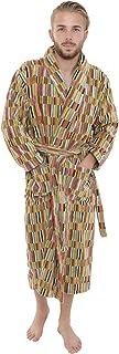 Artemis Mens and Ladies Unisex Luxury Velour Towelling Dressing Gown/Bathrobe. Grey/Yellow/Orange Multicoloured. S/M L/XL