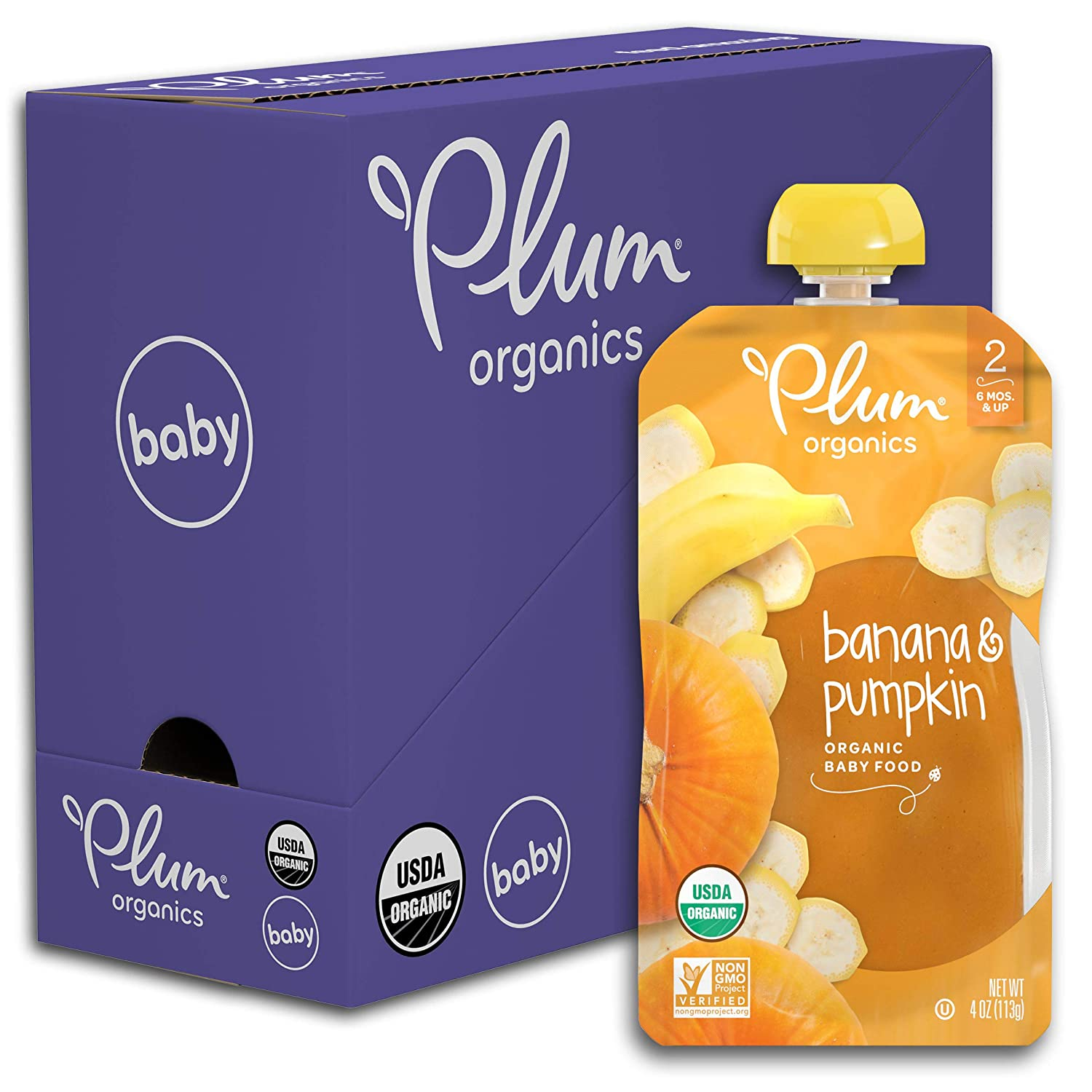 Plum Organics Stage 2 Organic Baby Food, Banana & Pumpkin, 4 Ounce Pouch (Pack of 6)