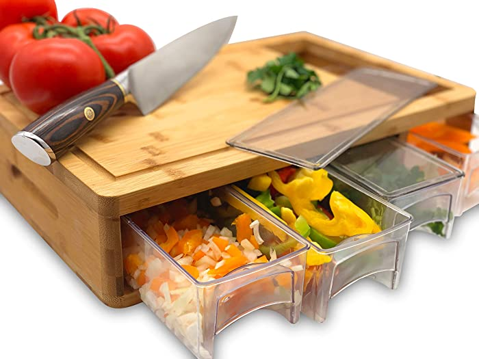 Bamboo Cutting Board With Trays and LIDS. Multi-functional: 4 draws can be used as PREP DISHES or for STORAGE. Design with juice grooves, handles, and a large opening to EFFICIENTLY SLIDE food into!