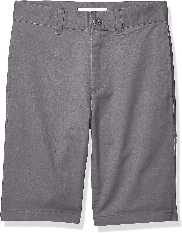 S 8 Essentials Flat Front Uniform Chino Short Gray