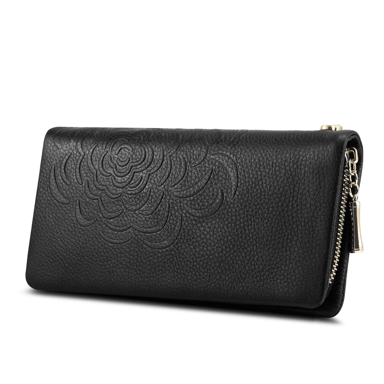 Kattee Soft Cowhide Leather Wallet Ladies Flower-embossed Clutch (Black)