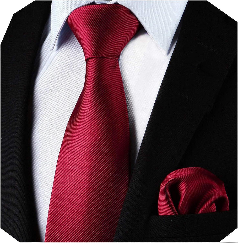 Enlision Conjunto de corbata cuadrada y corbata de bolsillo en color burdeos para hombres: Amazon.es: Ropa y accesorios