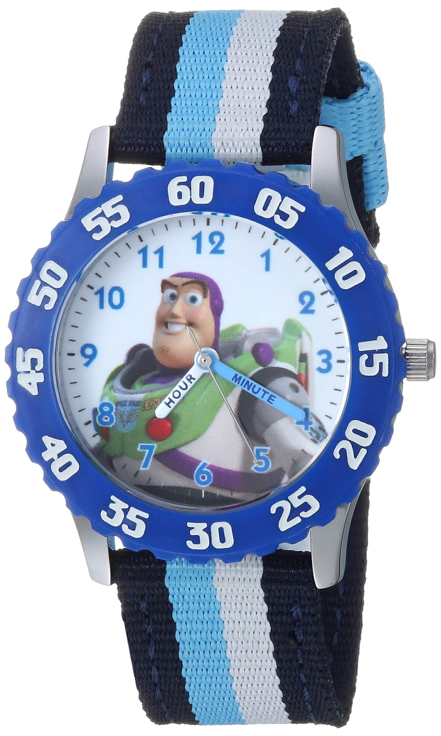 Disney Boys Toy Story 4 Stainless Steel Analog-Quartz Watch with Nylon Strap, Black, 16 (Model: WDS000715) by Disney