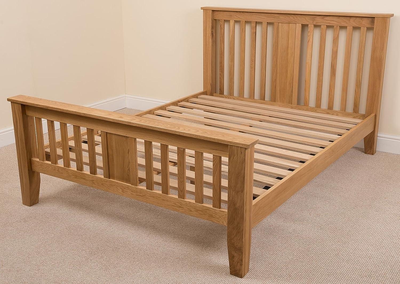 Amazon.com: Boston 4ft 6 Solid Oak Double Bed Frame (211 x 149 x 110 ...