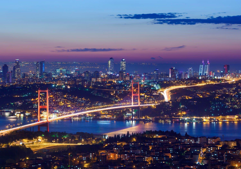 Fototapete Istanbul bei Nacht XXL 400 x 280 cm - 8 Teile Vlies Tapete Wandtapete - Moderne Vliestapete - Wandbilder - Design Wanddeko - Wand Dekoration wandmotiv24