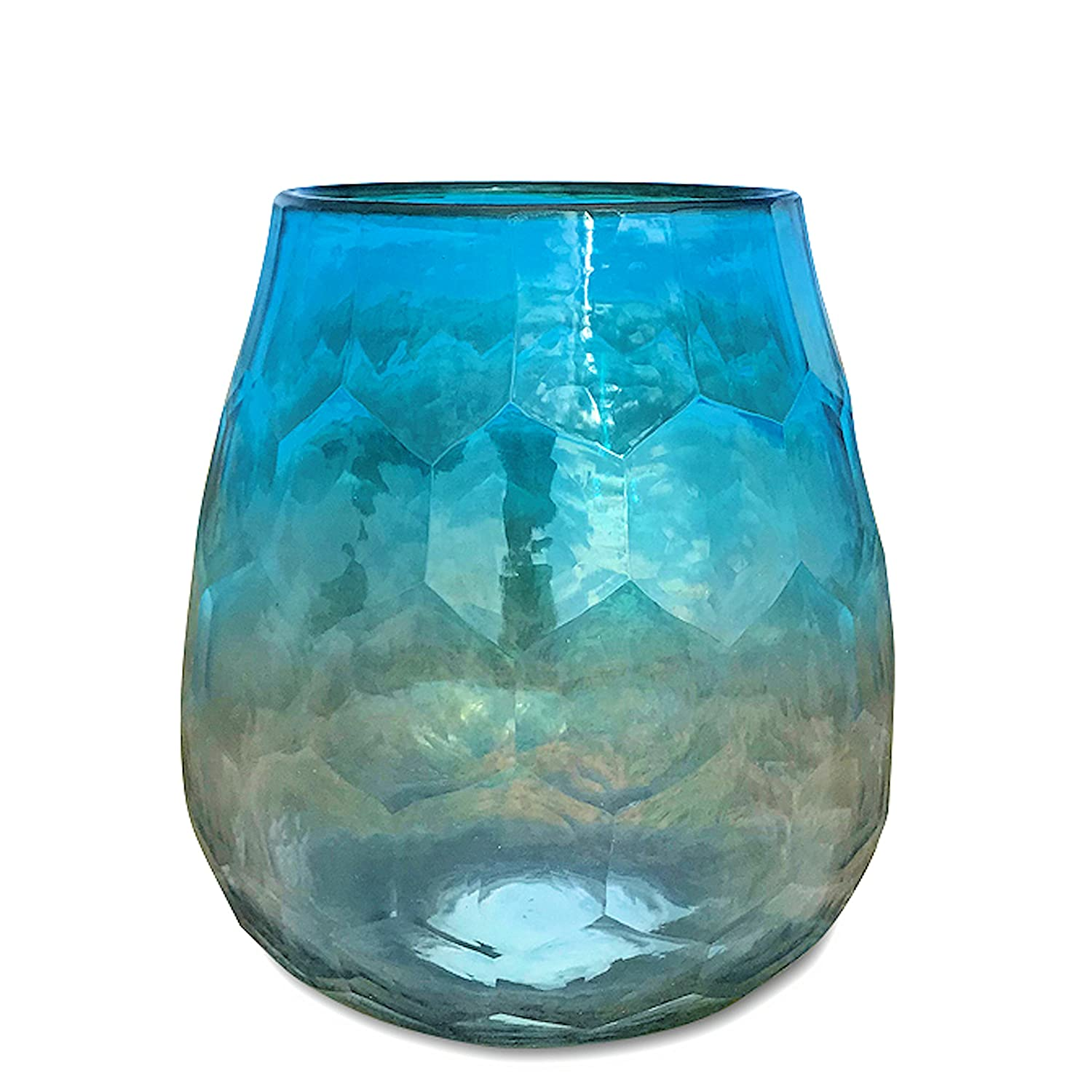 5 1//2 Inches Tall Artisinal Faceted Glass WHW Whole House Worlds Hamptons Pale Aqua Marine Ombre Hurricane Wind-Light Hand Blown and Molded