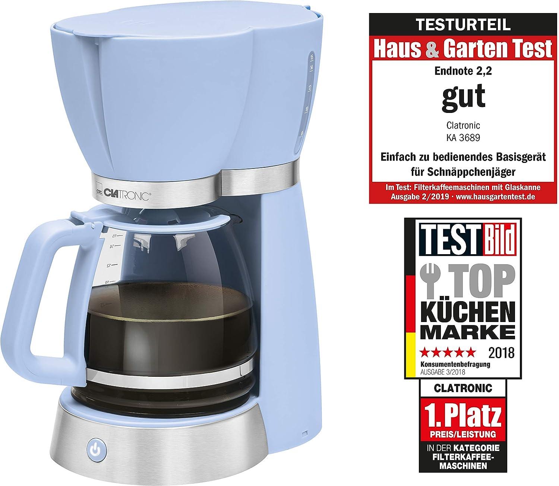 Abschaltautomatik Glaskanne Clatronic KA 3689 RocknRetro Filterkaffeemaschine f/ür 15 Tassen Blau Tropfstopp 1000 W