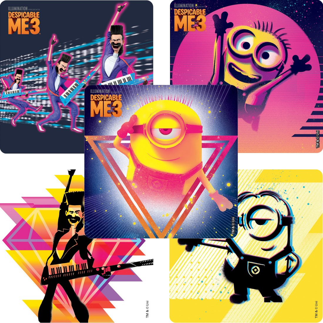 Prizes 100 per Pack SmileMakers Despicable Me 3 Movie Stickers from