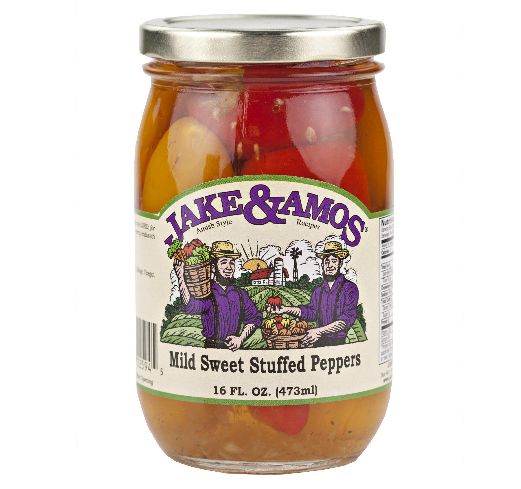 Jake & Amos Mild Sweet Stuffed Peppers 16 oz. (3 Jars)