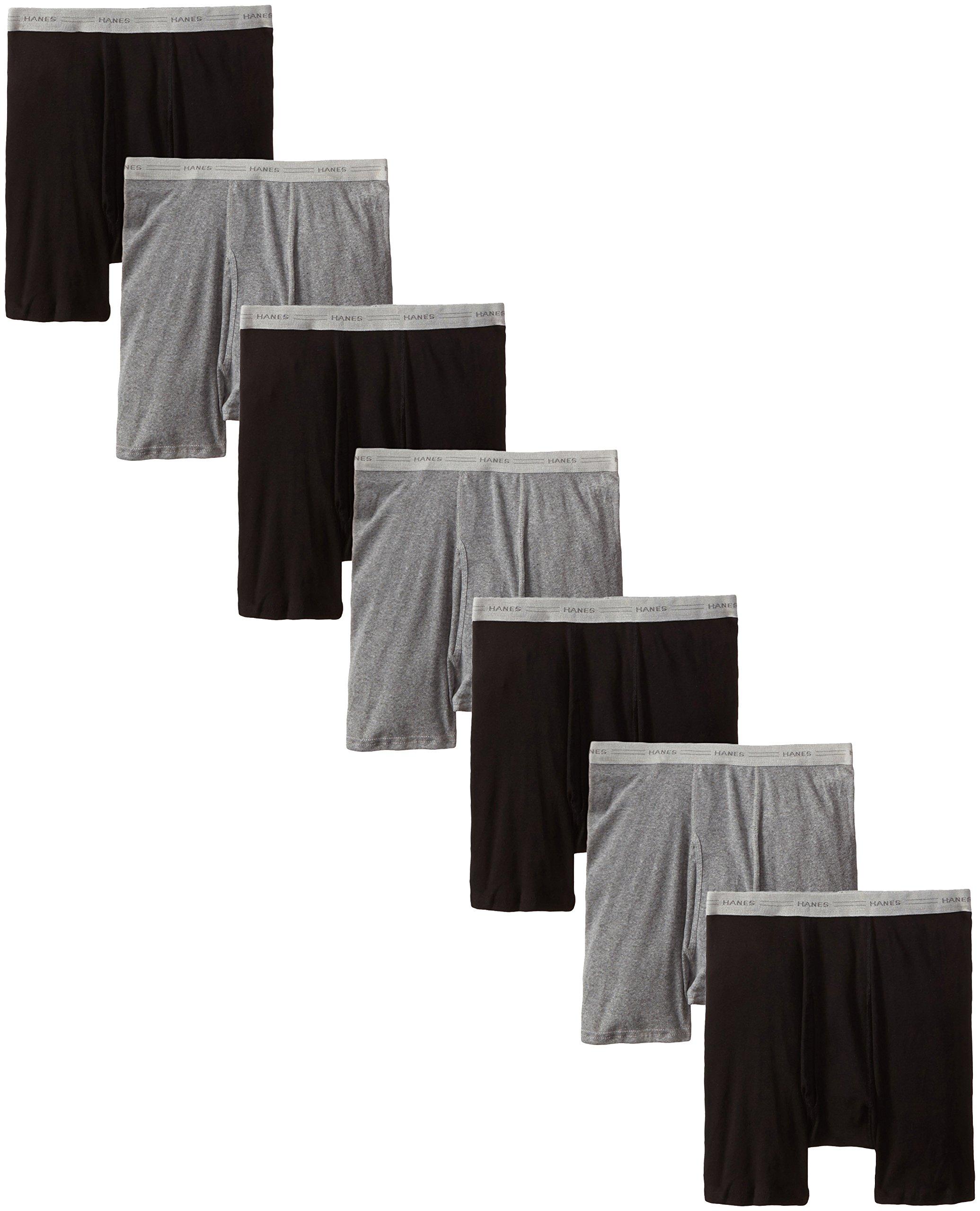 Hanes Men's 7-Pack Boxer Brief, Black/Grey, XX-Large