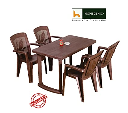 HOMEGENIC Varmora 1+4 Plastic Dining Set (Matte Finish Brown)