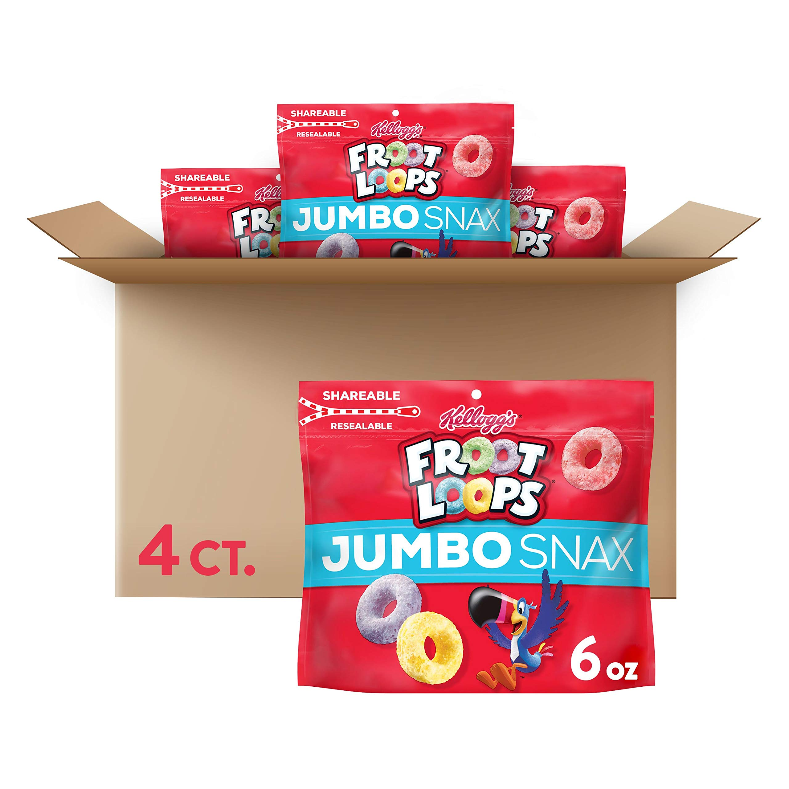 Kellogg's Froot Loops Jumbo Snax, Cereal Snacks, Original, On the Go, 6oz Resealable Bag(Pack of 4)