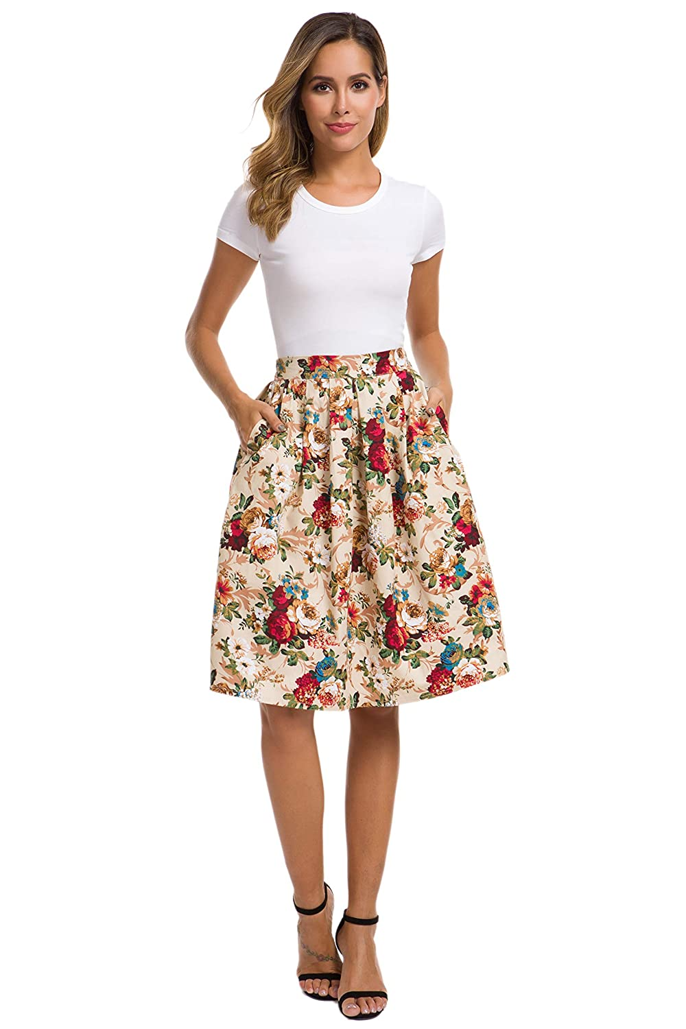 9f7a1b9fd78a HIKA Women's Retro High Elastic Waist Flare Pleated A-line Midi Skirt at  Amazon Women's Clothing store: