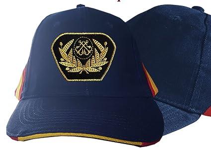 dicep Gorra Azul con Bandera de España y Escudo de la Marina Mercante
