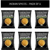Healthy Cravings Premium Crunchy Jowar Puffs (6 Packs) - Indian Spices (150g)