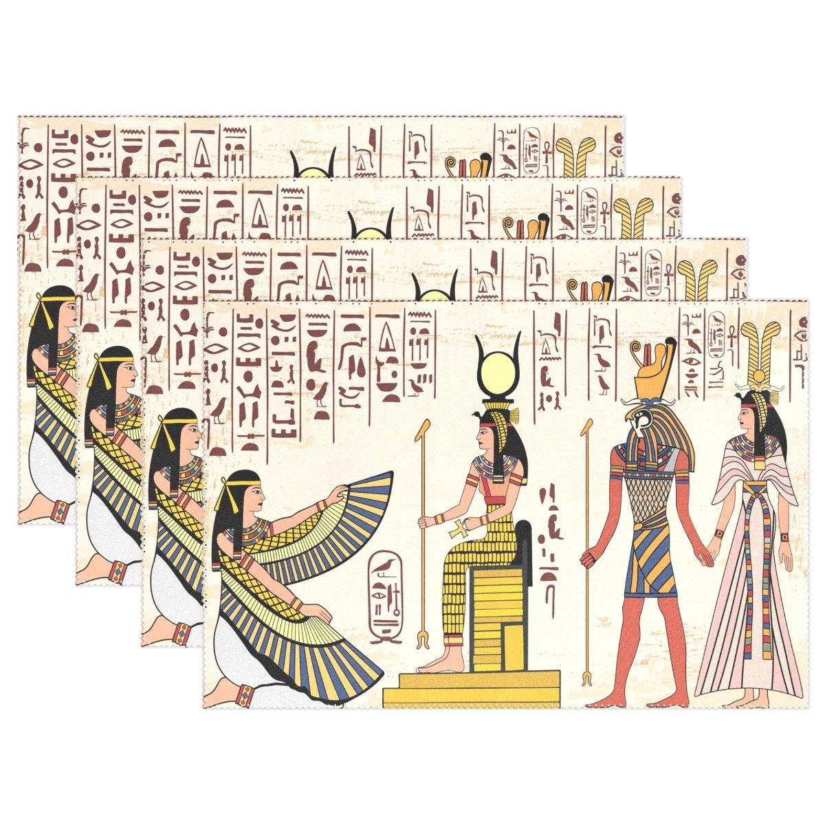 Wozo古代エジプトレディースPapyrusプレースマットテーブルマット、ヴィンテージペイント12