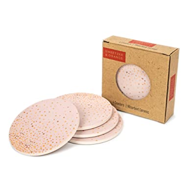 Ceramic Coasters for Drinks by Sweetzer & Orange - Pink and Rose Gold Drink Coasters, Round 4 Piece Coaster Set with Absorbent Ceramic Stone and Cork Base - Absorbant For Table, Desk and Bar