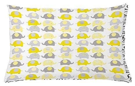 Funda de cojín para guardería, color amarillo y gris, diseño ...