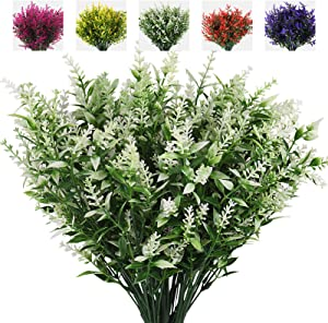 RECUTMS Artificial Plants Lavender, 8 Bundles Outdoor UV Resistant Greenery Fake Shrubs Simulation Plants Indoor Outside Hanging Planter Home Garden Decor (White)
